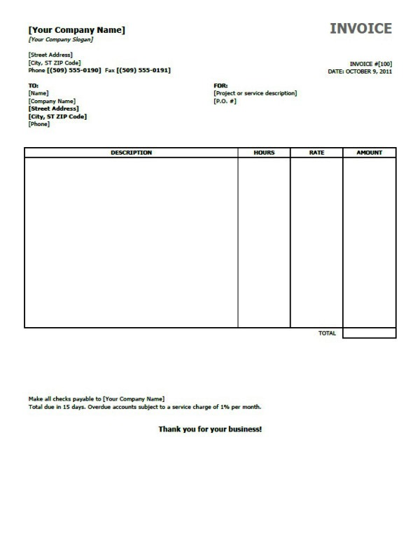 Microsoft Office Invoice Templates For Excel
